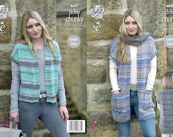 Ladies Waistcoats Knitting Pattern - King Cole Chunky Knitting Pattern 4607