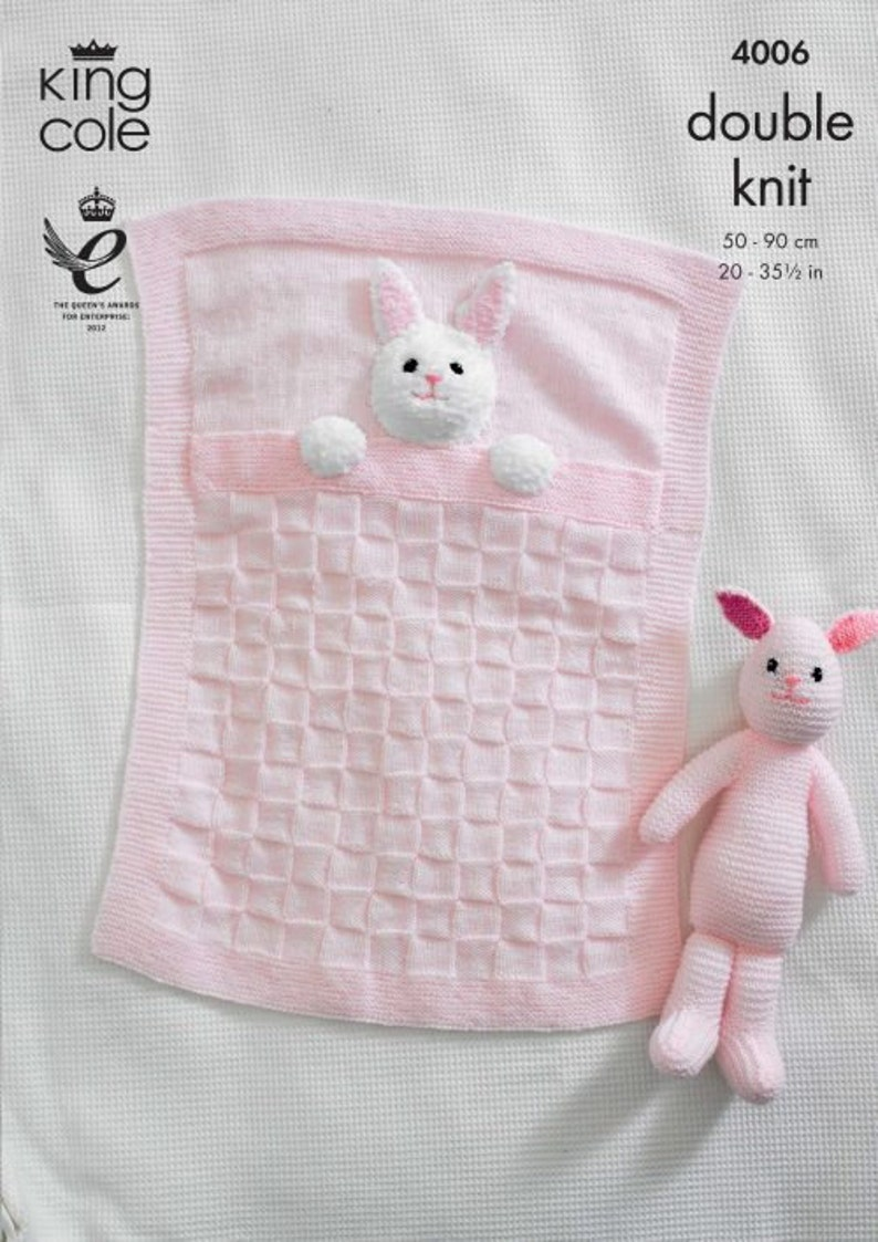 Baby Blankets and Bunny Rabbit Toy Knitting Pattern  King image 0