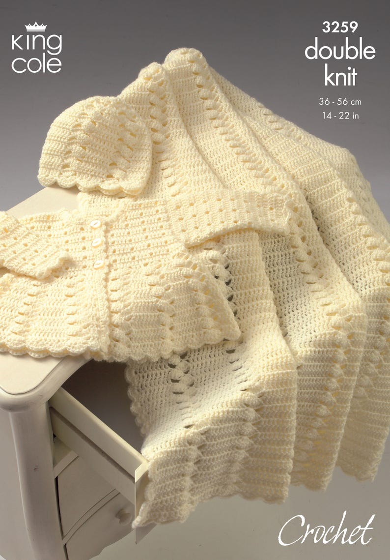 Coat Shawl and Hat Crochet Pattern for Baby or Toddler  King image 0