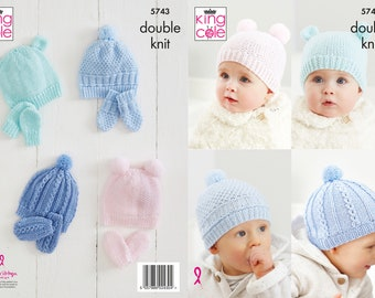 Hats and Mitts Knitting Pattern - King Cole Double Knit Knitting Pattern 5743