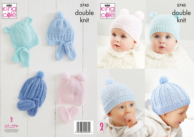 Hats and Mitts Knitting Pattern  King Cole Double Knit image 0