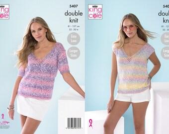 Ladies Tops Knitting Pattern - King Cole DK Knitting Pattern 5407
