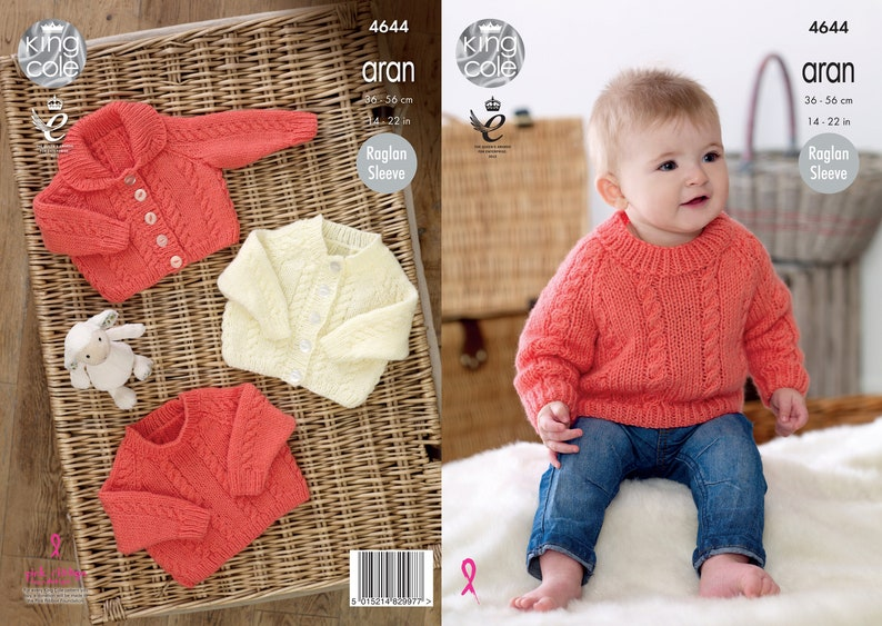 Babies Cardigans and Sweater Knitting Pattern  King Cole Aran image 0