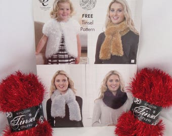 2 x King Cole Tinsel Chunky Yarn, + Free Pattern, choose from White, Christmas, Silver, Claret, Gold or Black