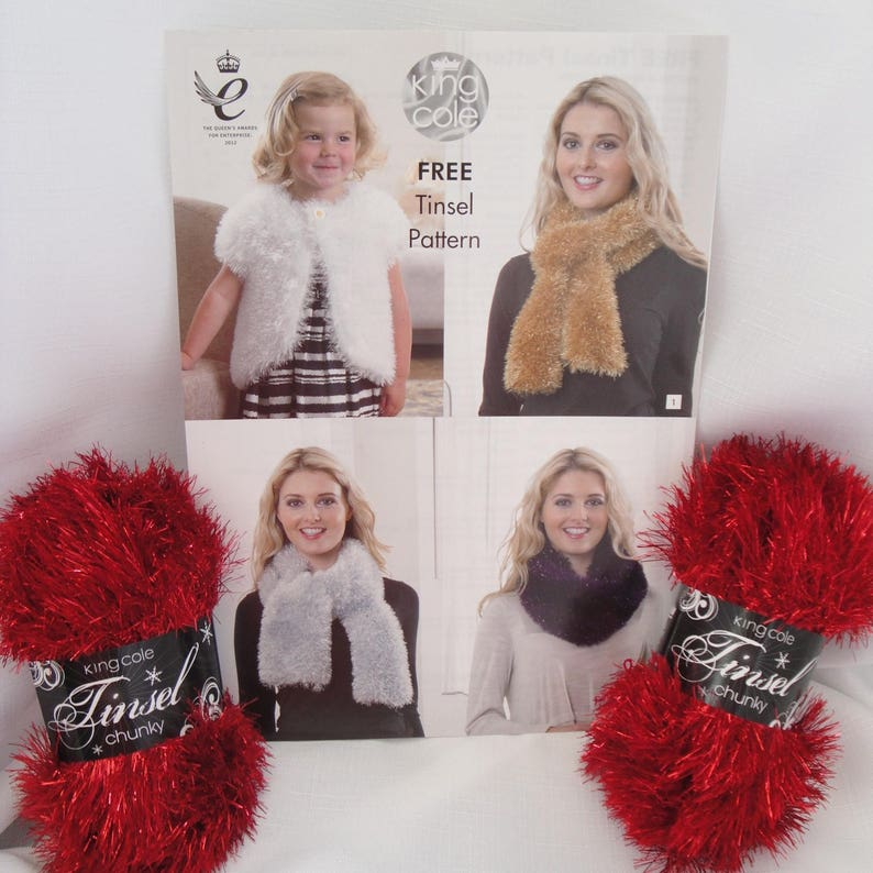 2 x King Cole Tinsel Chunky Yarn  Free Pattern choose from image 0