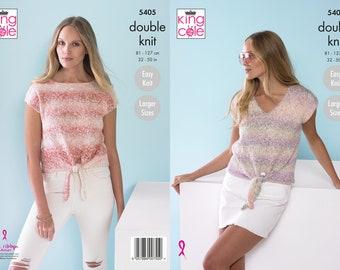 Ladies Tops Knitting Pattern - King Cole DK Knitting Pattern 5405
