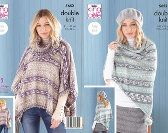 Ladies Ponchos, Snood and Shawl Knitting Pattern - King Cole DK Knitting Pattern 5652