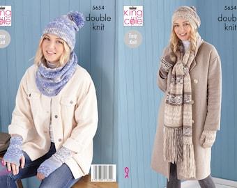 Scarf, Wristwarmers, Hats, Mitts & Snood Knitting Pattern - King Cole Double Knitting Pattern 5654