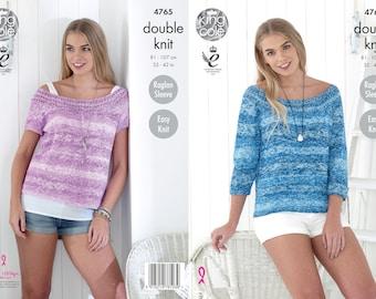 Ladies Tops Knitting Pattern - King Cole DK Knitting Pattern 4765