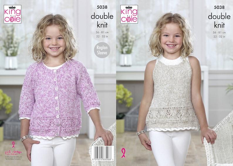 Girls Cardigan and Top Knitting Pattern  King Cole DK image 0