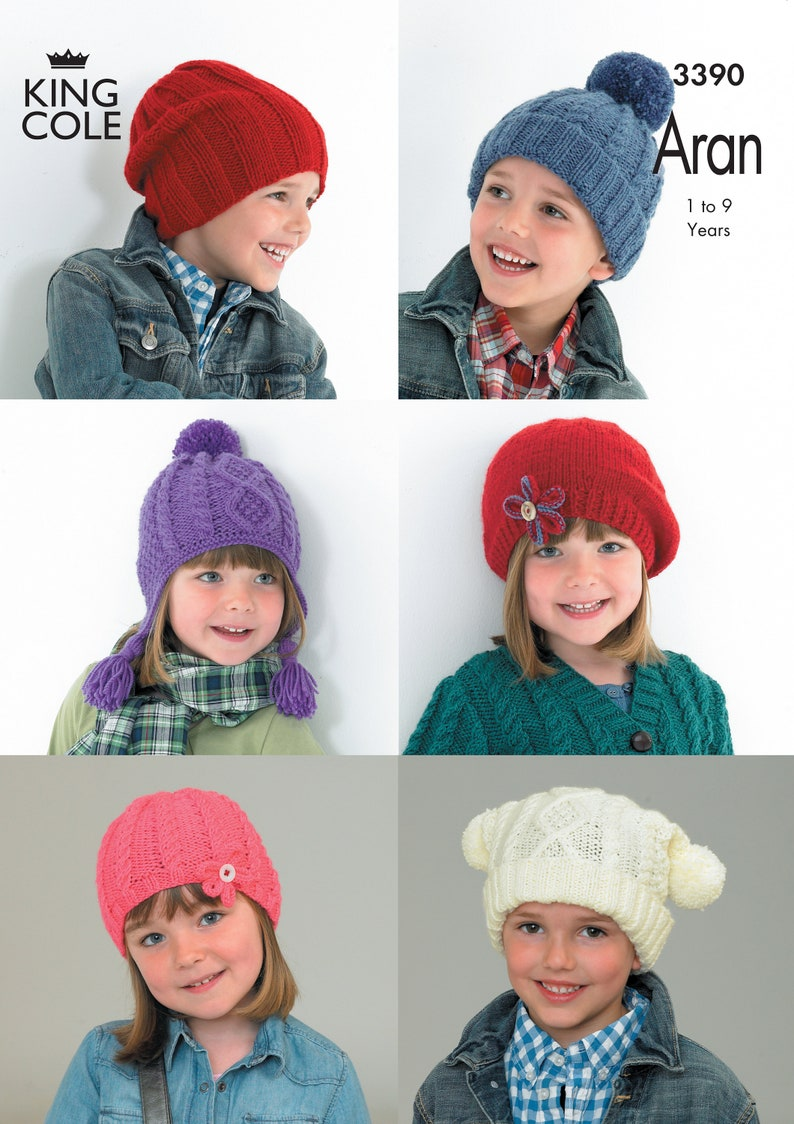Children's Hats Knitting Pattern  King Cole Aran Knitting image 0