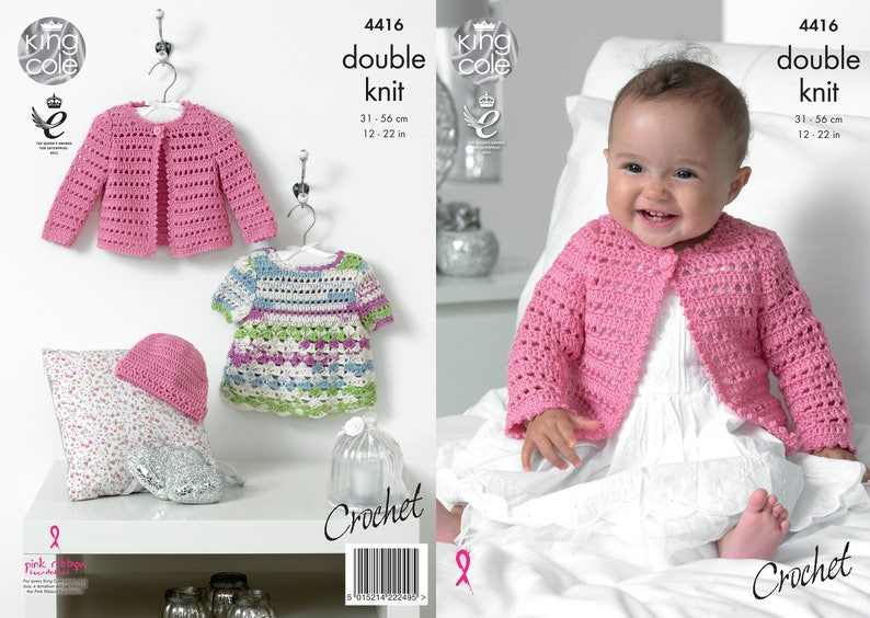 Crochet Dress Cardigan and Hat  King Cole Double Knit image 0