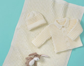 Baby Boy and Girl's Jacket, Hat and Blanket Crochet Pattern - King Cole 4 Ply Crochet Pattern 5561