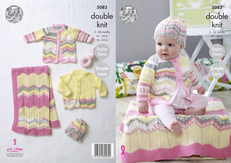 Blanket Coat Cardigan and Hat Knitting Pattern  King Cole image 0