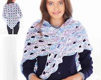 Shawls Crochet Pattern - King Cole 4 Ply Crochet Pattern 5583