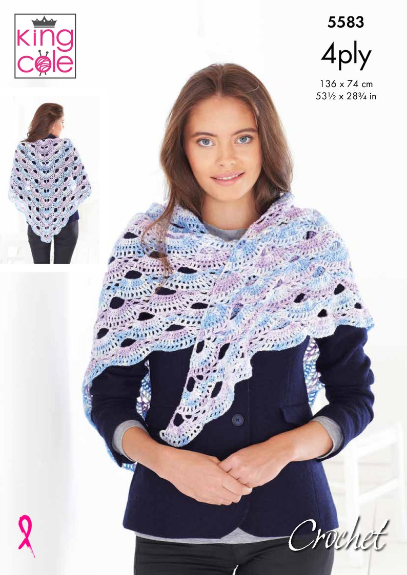 Shawls Crochet Pattern  King Cole 4 Ply Crochet Pattern 5583 image 0