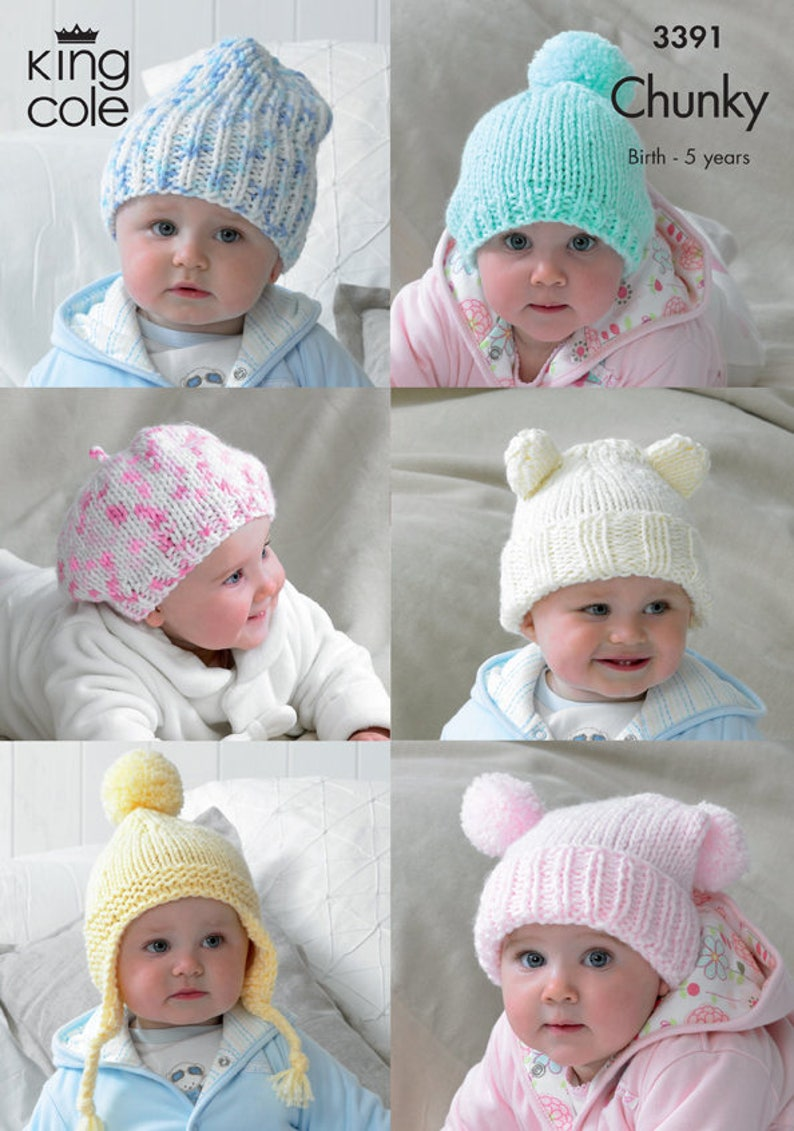 Children's Hats Knitting Pattern  King Cole Chunky image 0