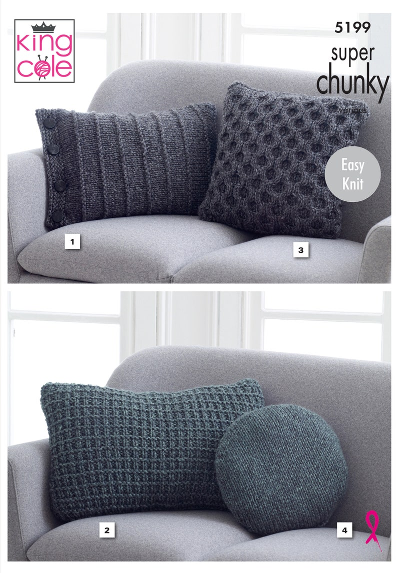 Cushion Covers Knitting Pattern  King Cole Super Chunky image 0