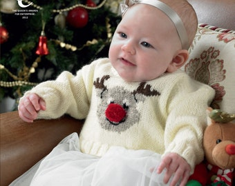 Babies Christmas Sweaters Knitting Pattern - King Cole DK Knitting Pattern 3804