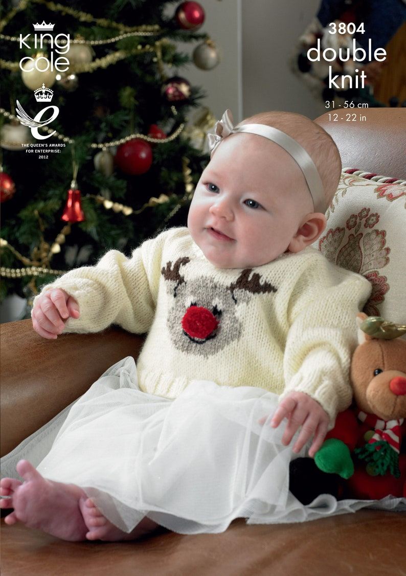 Babies Christmas Sweaters Knitting Pattern  King Cole DK image 0