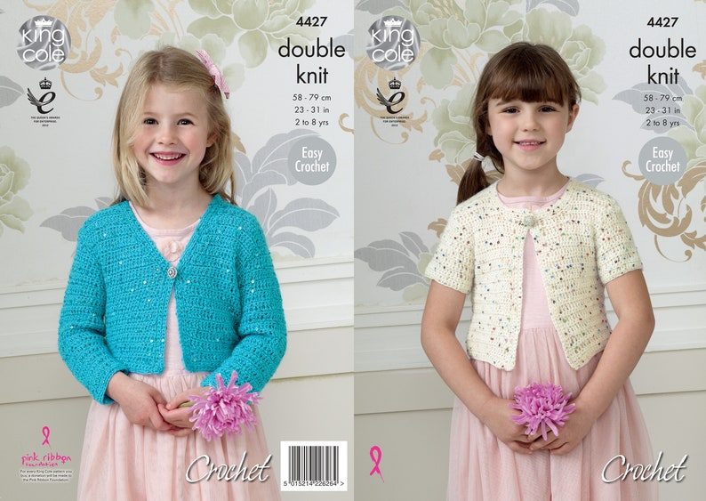 Crochet Short Cardigans  King Cole DK Crochet Pattern 4427 image 0