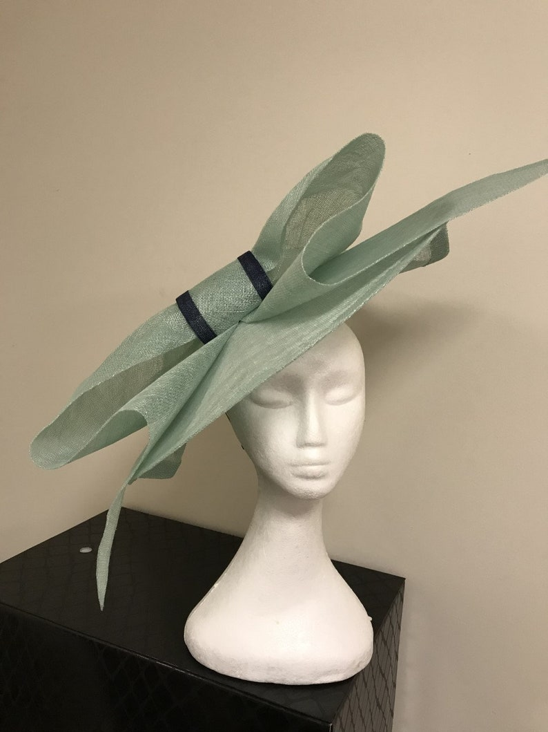 4bb5e3422dd65 Extra Large Aqua Blue Fascinator with Navy centre detail, stunning for  weddings or any special occassion!