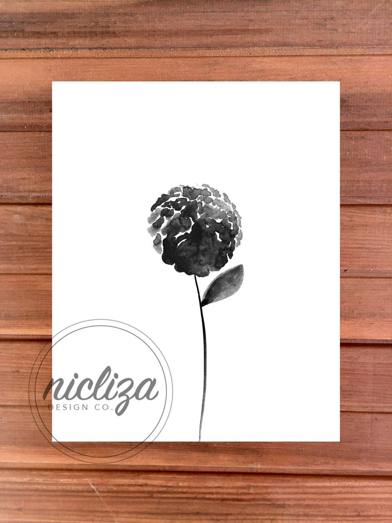 Estampado De Flores Acuarela Blanco Y Negro Imprimir Etsy
