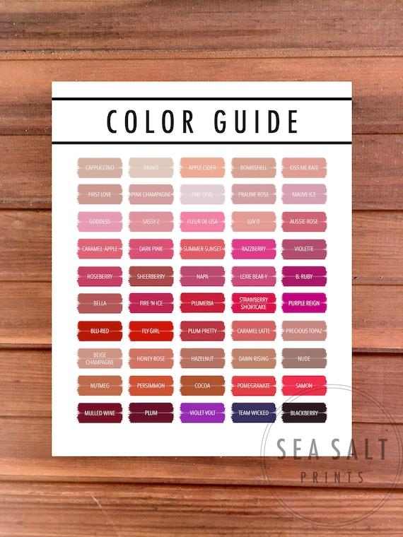 Updated 2018 Lipsense Color Guide Lipsense Color Chart 2018 Etsy
