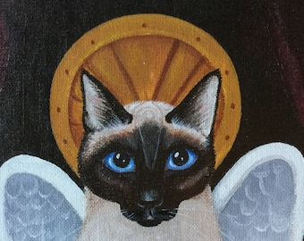Siamese Cat Art Original Signed Painting Acrylic Wall Art Cat with Wings Blue Eyes Cat