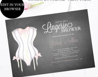 Lingerie Shower Invitation Etsy