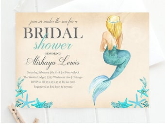 bridal shower invitation mermaid bridal shower invitation beach bridal shower seashell bridal shower invitation mermaid bridal shower