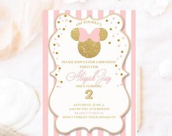 Minnie mouse birthday invitation, glitter Minnie mouse invite, pink bow Minnie birthday invitation, minnie girl birthday w/ pink stripes