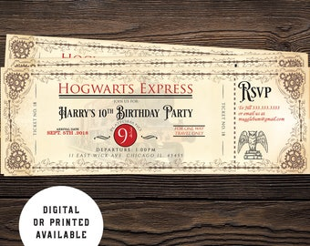 Hogwarts invitation Etsy