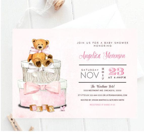 Bear Baby Shower Invitation Its A Girl Teddy Bear Baby Etsy