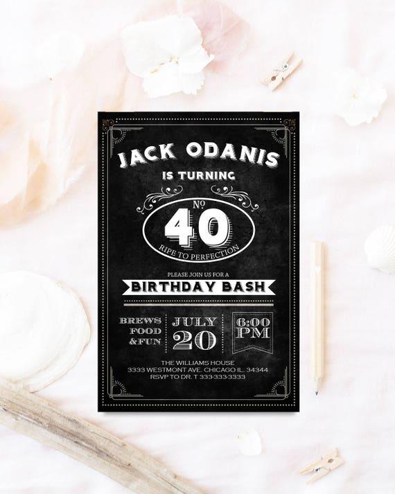 Vintage Urodziny Zaproszenie W Wieku Do Perfekcji Whisky Etsy