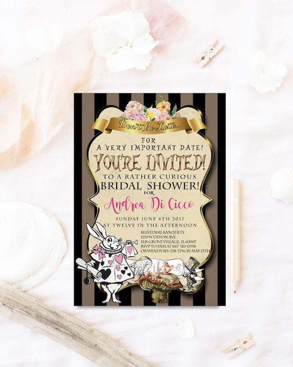 Wonderland Bridal Shower Invitation Mad Hatter Bridal Shower Invitation Alice Bridal Shower Invitation Tea Party Bridal Shower Brunch