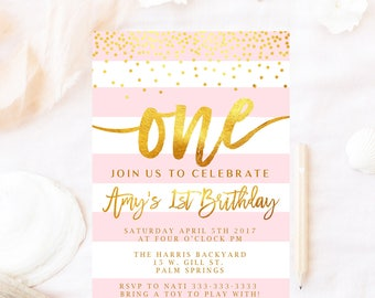 Pink First birthday invitation, Gold faux foil First birthday invitation, 1st Birthday, First birthday , Girl birthday invitations, pink