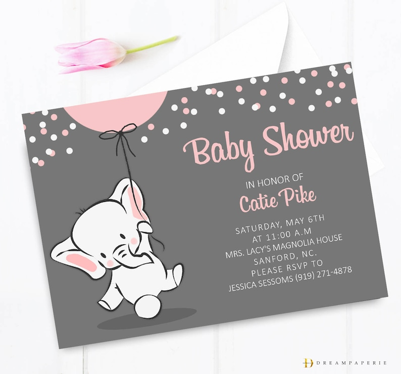 Elephant Baby Shower Invitation Pink Elephant Baby Shower Etsy