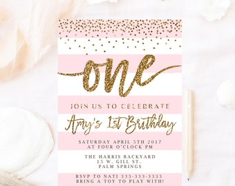 Pink First birthday invitation, glitter First birthday invitation, 1st Birthday, Girls party invites, Girl birthday invitations, pink
