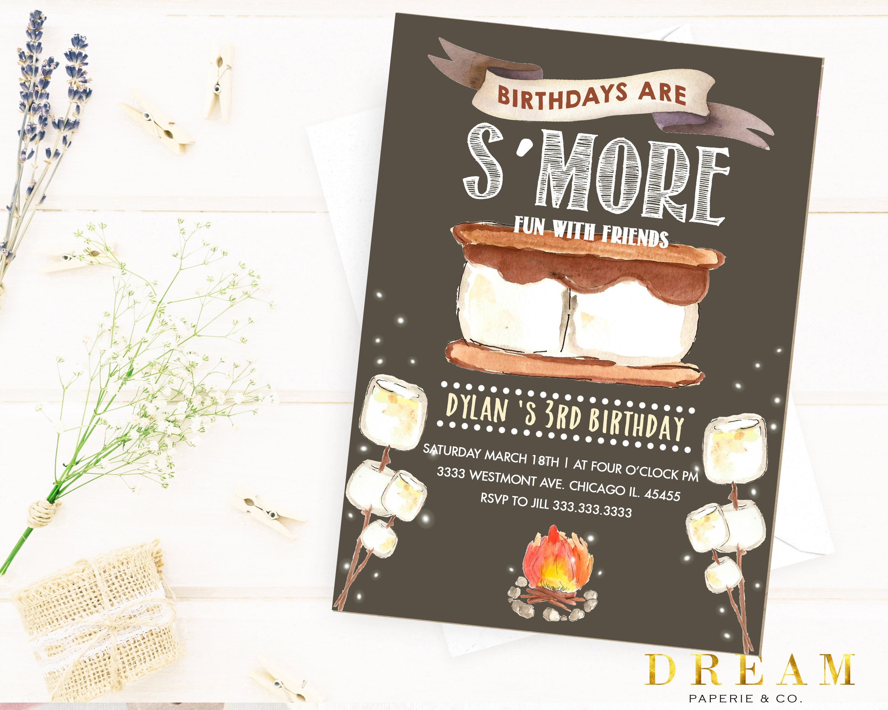 Smore Invitation Birthday