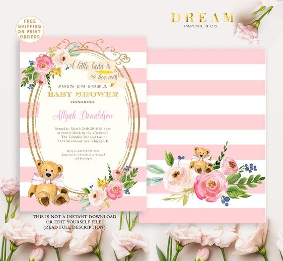 Baby Shower Invitation Flower Baby Shower Invitation Girl Etsy
