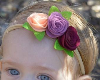 Flower headband, flower baby headband, flower toddler headband