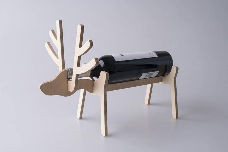 Deer Antlers Reindeer Wine Holder Flat Pack Funky Wine image 0