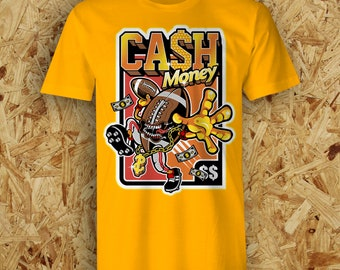 24ee026b3bec42 Cash Money Gangster NFL Inspired American Football Streetwear T-Shirt Tee 7  Colours
