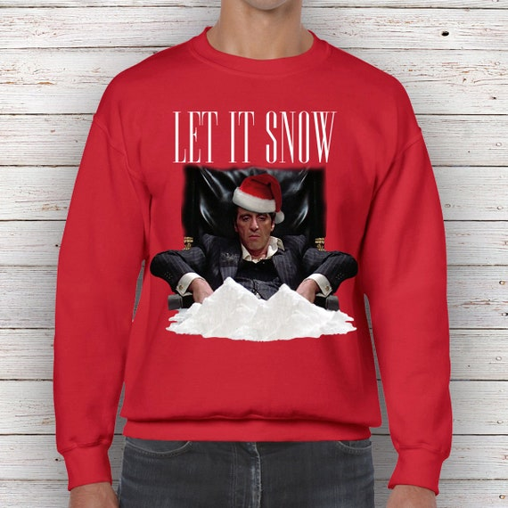 Scarface Let It Snow Christmas Sweater Jumper Xmas Funny Tony Etsy