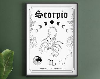 Scorpio Zodiac Astrology Art Print | A5 A4 A3 | Water Star Sign | Unique Gift | Scorpion | Boho Wall Decor