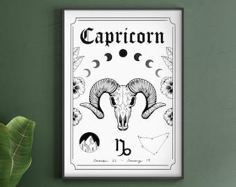 Capricorn Zodiac Astrology Art Print | A5 A4 A3 | Earth Star Sign | Unique Gift | Goat Skull | Boho Wall Decor