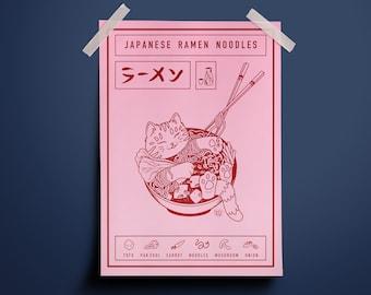 Japanese Ramen Noodles Cat Illustrated Art Print | Cat Lover Unique Gift | Maneki Neko | A3 A4 A5 Poster