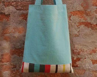 Light green and tripes Tote Bag, Ecofriendly