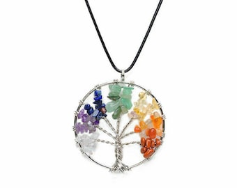 Tree of Life Pendant - 7 Chakra necklace - tree of life necklace - Seven chakras necklace - chakra crystals - tree of life jewelry - Silver